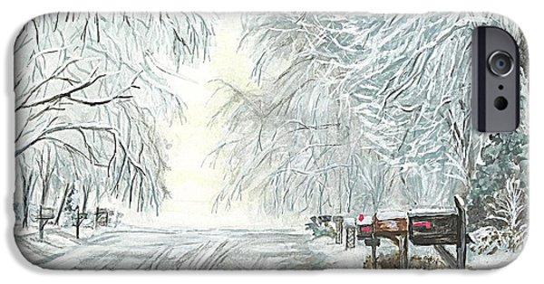Winter Storm Drawings iPhone Cases - My Slippery Street  iPhone Case by Carol Wisniewski