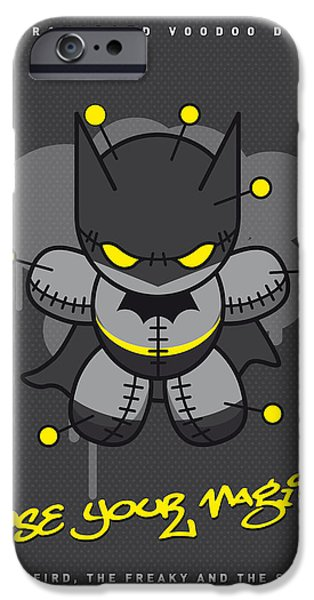 Batman Print iPhone Cases - My SUPERCHARGED VOODOO DOLLS BATMAN iPhone Case by Chungkong Art