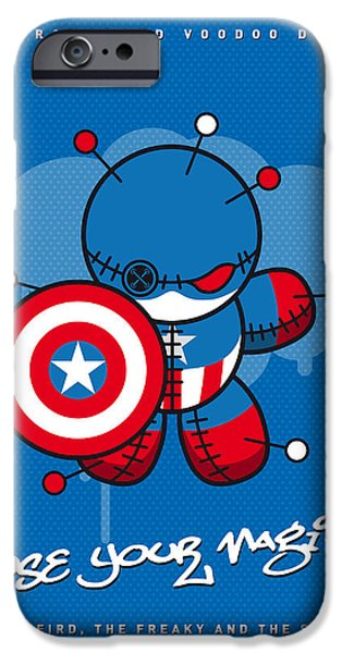 Power iPhone Cases - My SUPERCHARGED VOODOO DOLLS CAPTAIN AMERICA iPhone Case by Chungkong Art