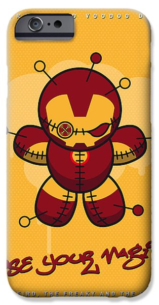 Power iPhone Cases - My SUPERCHARGED VOODOO DOLLS IRONMAN iPhone Case by Chungkong Art