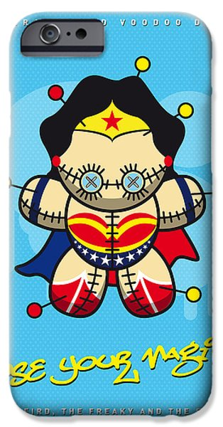 Power iPhone Cases - My SUPERCHARGED VOODOO DOLLS WONDER WOMAN iPhone Case by Chungkong Art