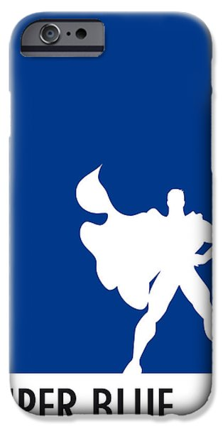 Pantone iPhone Cases - My Superhero 03 Super Blue Minimal poster iPhone Case by Chungkong Art