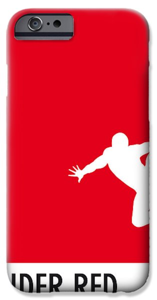 Pantone iPhone Cases - My Superhero 04 Spider Red Minimal poster iPhone Case by Chungkong Art