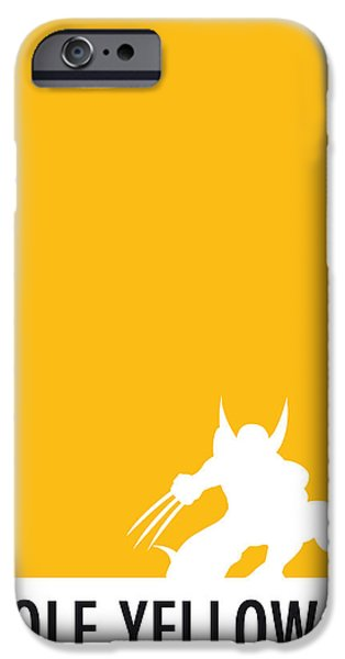 Print iPhone Cases - My Superhero 05 Wolf Yellow Minimal poster iPhone Case by Chungkong Art