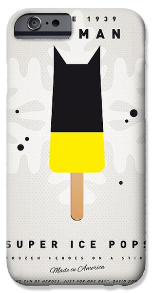 Pop Digital Art iPhone Cases - My SUPERHERO ICE POP - BATMAN iPhone Case by Chungkong Art