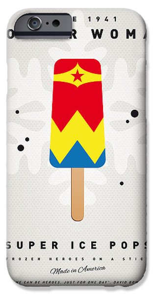 Pop Digital Art iPhone Cases - My SUPERHERO ICE POP - Wonder Woman iPhone Case by Chungkong Art