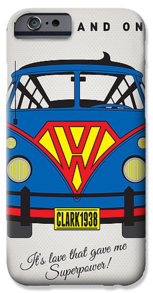 Power iPhone Cases - MY SUPERHERO-VW-T1-superman iPhone Case by Chungkong Art