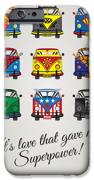 Volkswagen iPhone Cases - MY SUPERHERO-VW-T1-universe iPhone Case by Chungkong Art