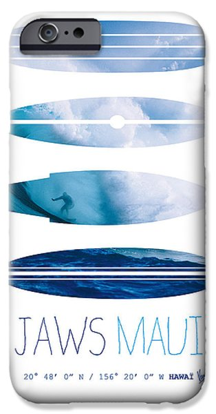 Surfer iPhone Cases - My Surfspots poster-1-Jaws-Maui iPhone Case by Chungkong Art