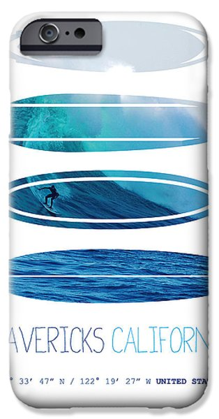 Surfer iPhone Cases - My Surfspots poster-2-Mavericks-California iPhone Case by Chungkong Art