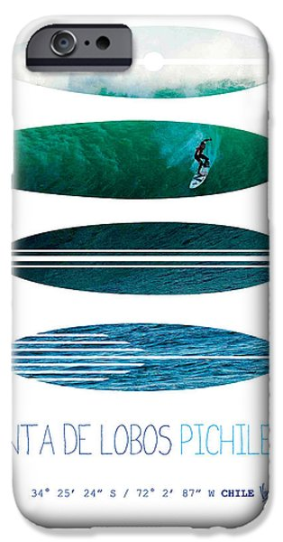 Dungeons iPhone Cases - My Surfspots poster-3-Punta de Lobos-Chile iPhone Case by Chungkong Art