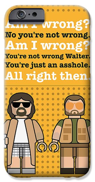 Jesus Digital iPhone Cases - My The Big Lebowski lego dialogue poster iPhone Case by Chungkong Art