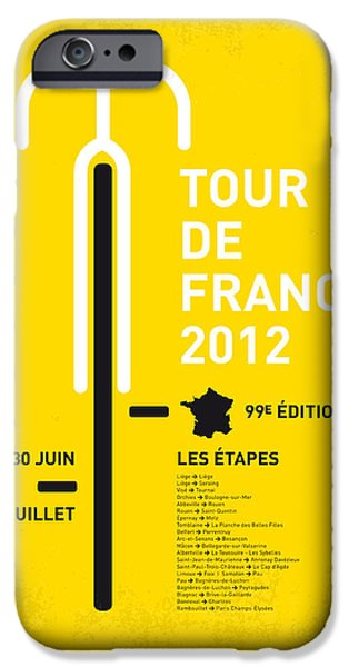 Tour iPhone Cases - My Tour De France Minimal Poster 2012 Oud iPhone Case by Chungkong Art