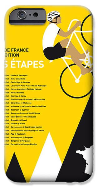 Cycles iPhone Cases - My Tour De France Minimal Poster 2014-etapes iPhone Case by Chungkong Art