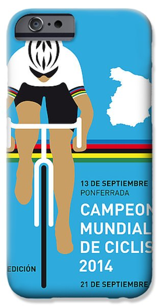 Cycles iPhone Cases - MY UCI Road World Championships MINIMAL POSTER 2014 iPhone Case by Chungkong Art