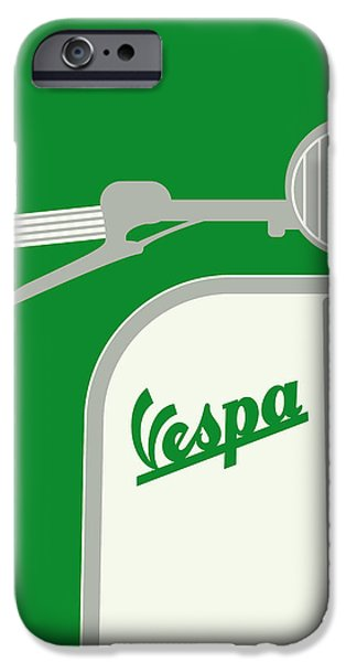 Motor iPhone Cases - My Vespa - From Italy With Love - Green iPhone Case by Chungkong Art