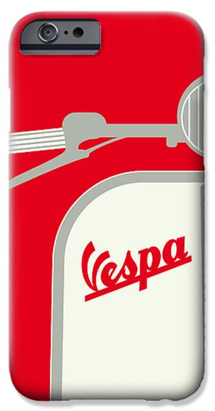 Motor iPhone Cases - My Vespa - From Italy With Love - Red iPhone Case by Chungkong Art