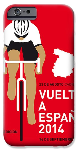 Cycles iPhone Cases - My Vuelta A Espana Minimal Poster 2014 iPhone Case by Chungkong Art