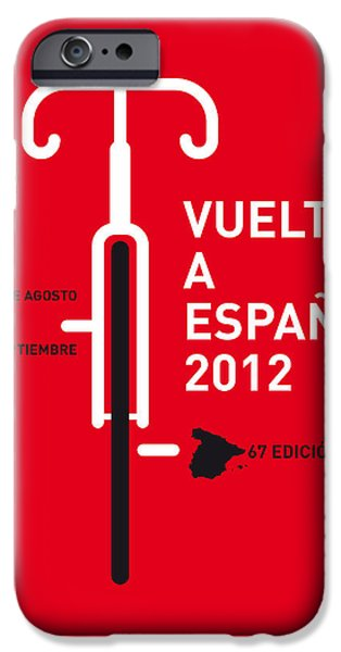 Cycling iPhone Cases - My Vuelta A Espana Minimal Poster iPhone Case by Chungkong Art