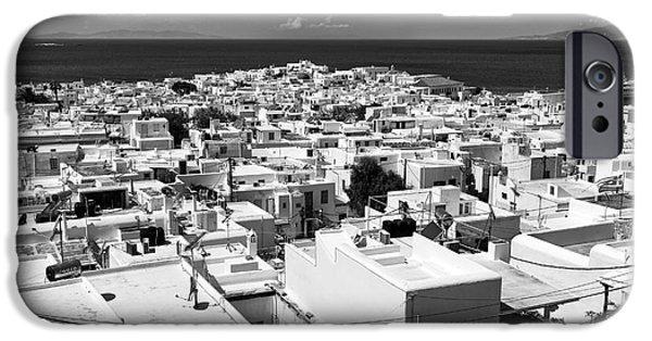 Monotone iPhone Cases - Mykonos Town Portrait mono iPhone Case by John Rizzuto