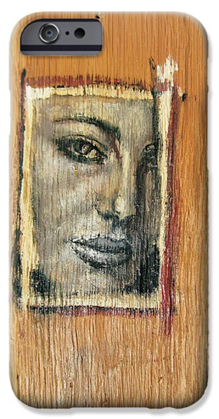 Model Reliefs iPhone Cases - Mysterious Girl Face Portrait - Painting On The Wood iPhone Case by Nenad  Cerovic