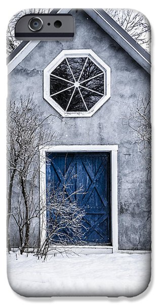 Snow iPhone Cases - Mysterious house with blue door iPhone Case by Edward Fielding