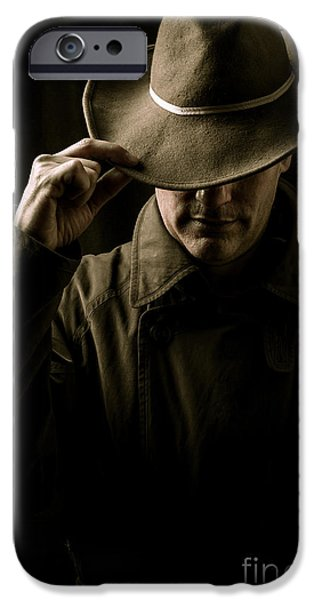 Crops iPhone Cases - Mysterious man in hat and trench coat iPhone Case by Edward Fielding
