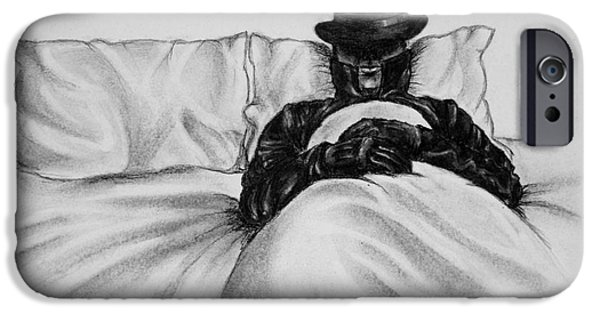 Sheets Drawings iPhone Cases - Mysterious Stranger figure lying dressed in bed iPhone Case by A R