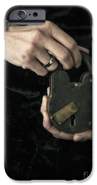 Mysteries iPhone Cases - Mysterious Woman with Lock iPhone Case by Edward Fielding