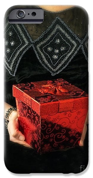 Box iPhone Cases - Mysterious Woman with Red Box iPhone Case by Edward Fielding
