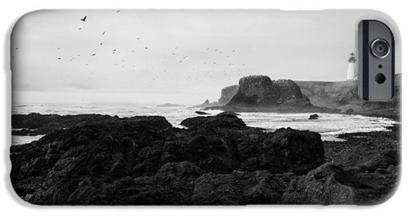 Headland iPhone Cases - Mysterious Yaquina Head iPhone Case by Mark Kiver
