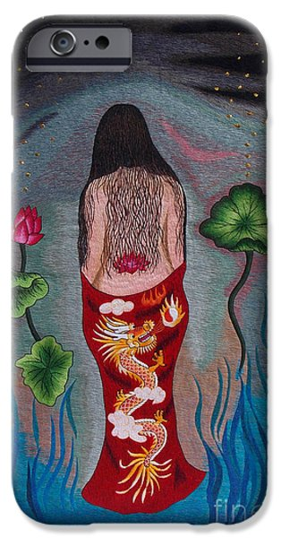 Nudes Tapestries - Textiles iPhone Cases - Mystery Lady hand embroidery iPhone Case by To-Tam Gerwe
