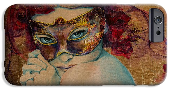 Red Eye iPhone Cases - Mystery Roses iPhone Case by Dorina  Costras
