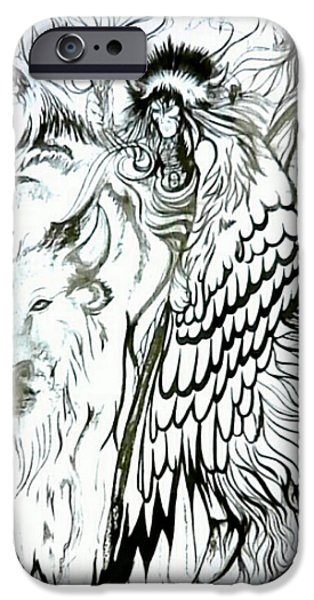 Fury Drawings iPhone Cases - Mystic Fury iPhone Case by Paul Hudson