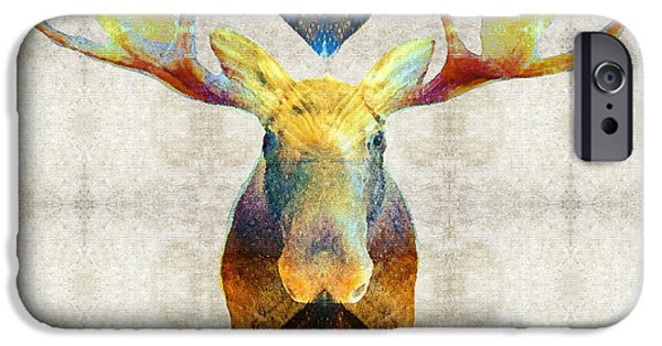 Wild Animals iPhone Cases - Mystic Moose Art by Sharon Cummings iPhone Case by Sharon Cummings