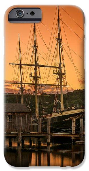 Historic Schooner iPhone Cases - Mystic Seaport Sunset-Joseph Conrad tallship 1882 iPhone Case by Thomas Schoeller