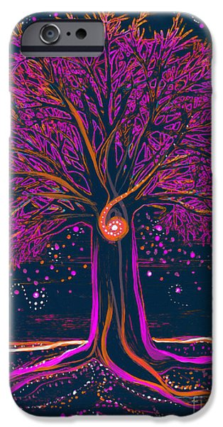 Celtic Spiral iPhone Cases - Mystic Spiral Tree 1 pink iPhone Case by First Star Art
