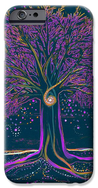Celtic Spiral iPhone Cases - Mystic Spiral Tree 1 purple iPhone Case by First Star Art