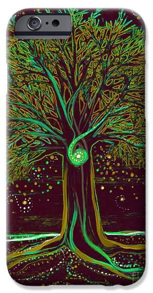 Celtic Spiral iPhone Cases - Mystic Spiral Tree  green by jrr iPhone Case by First Star Art