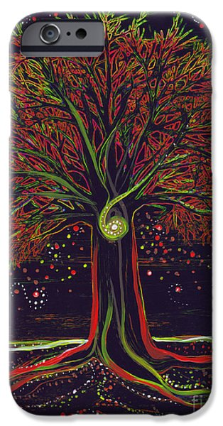Mystic Spiral Tree red by jrr iPhone Case by First Star Art