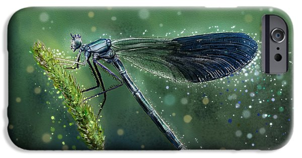 Airbrush iPhone Cases - mystical Banded Demoiselle iPhone Case by Marcin Moderski