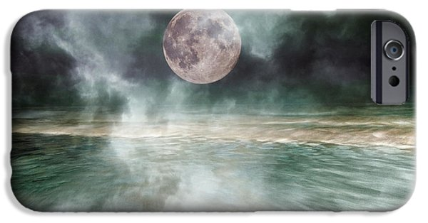 Moonscape iPhone Cases - Mystical Beach Moon iPhone Case by Betsy A  Cutler