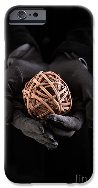 Eerie iPhone Cases - Mystical hands holding a woven ball iPhone Case by Edward Fielding