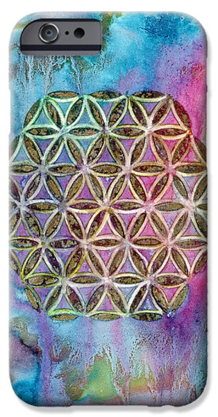 Flower Of Life Mixed Media iPhone Cases - Mystical Morning  iPhone Case by AnaLisa Rutstein