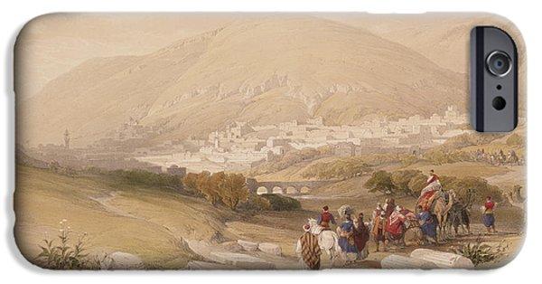 Pilgrims iPhone Cases - Nablous   Ancient Shechem iPhone Case by David Roberts
