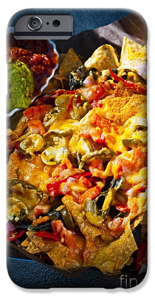 Chip Photographs iPhone Cases - Nacho basket with cheese iPhone Case by Elena Elisseeva