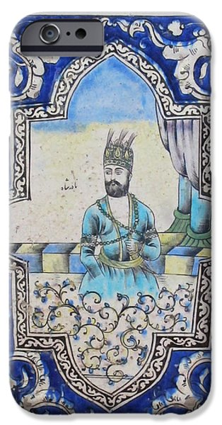 Nader Shah Qajar Ceramic Style Persian Art iPhone Case by Persian Art