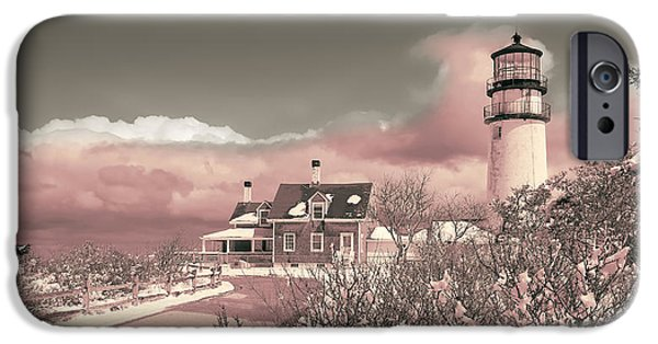 Cape Cod Lighthouses iPhone Cases - Naive Art Photography - Pink Truro Lighthouse in Winter iPhone Case by Dapixara Black and White Photography