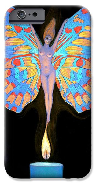 Transformation iPhone Cases - Naked Butterfly Lady Transformation iPhone Case by Sue Halstenberg