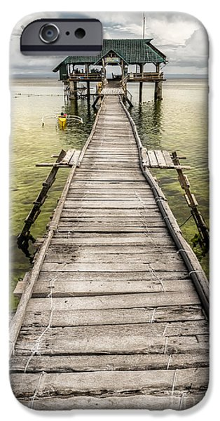 Pier Digital Art iPhone Cases - Nalusuan Island Pier iPhone Case by Adrian Evans